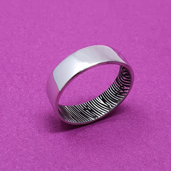 Memento Silver Personalised Secret Fingerprint Flat Profile Wide Ring Jewellery