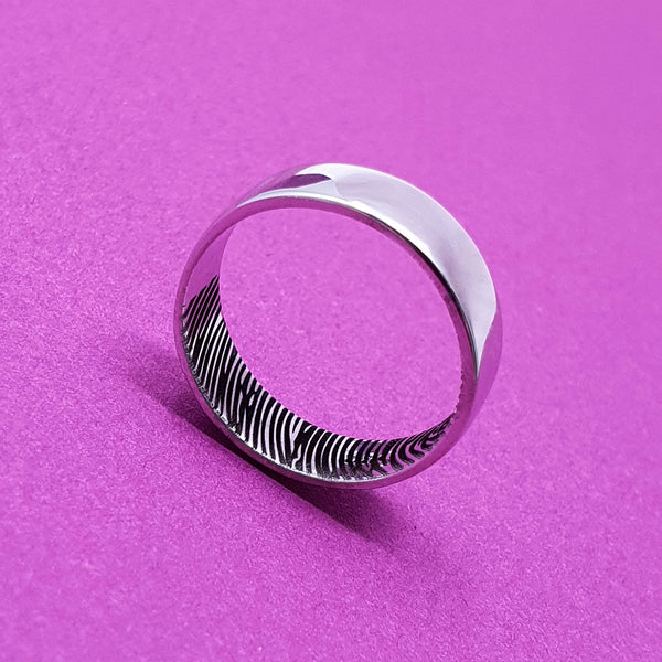 Memento Silver Personalised Secret Fingerprint Flat Profile Ring Jewellery