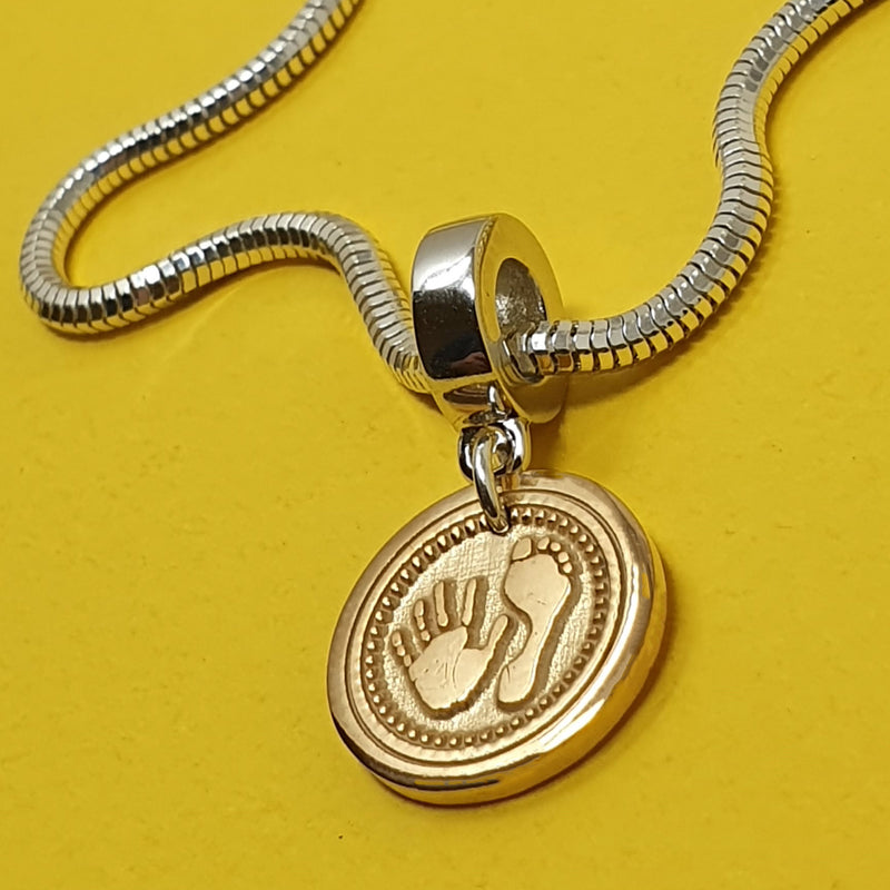 Memento signature button 9ct yellow gold plated personalised handprint & footprint bullet template charm jewellery
