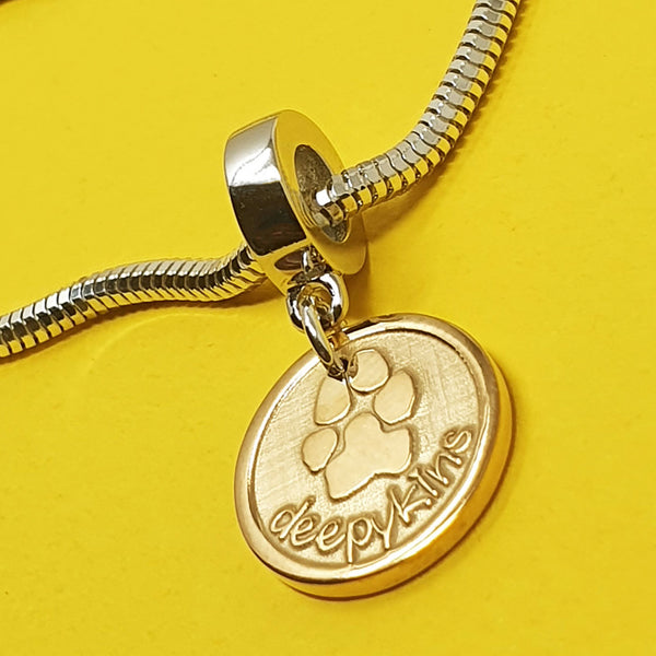 Memento 9ct yellow gold plated personalised pawprint signature chunky button charm jewellery