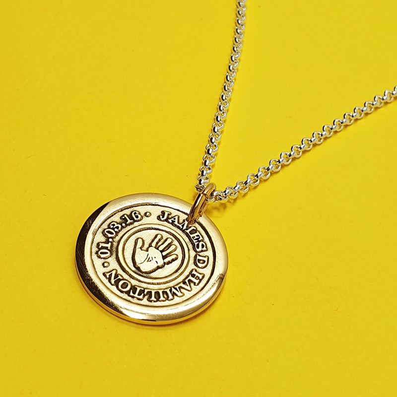 Memento 9ct yellow gold plated personalised handprint & footprint target template signature chunky button necklace jewellery