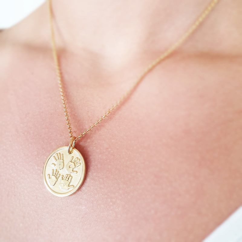 Memento signature button 9ct yellow gold plated personalised four hands template necklace jewellery