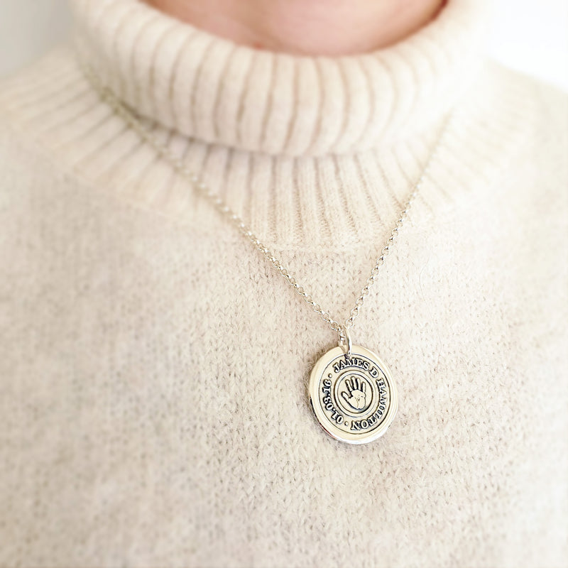 Memento silver personalised handprint & footprint target template signature chunky button necklace jewellery