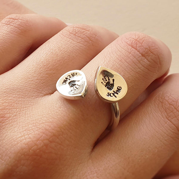 Memento silver personalised handprint & footprint signature duo peardrop ring jewellery