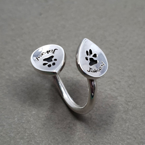 Memento silver personalised pawprint signature duo peardrop ring jewellery