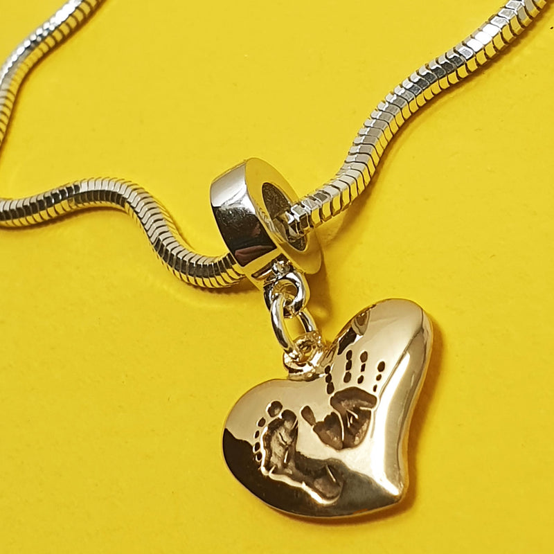 Memento 9ct yellow gold plated personalised handprint & footprint signature heart charm jewellery