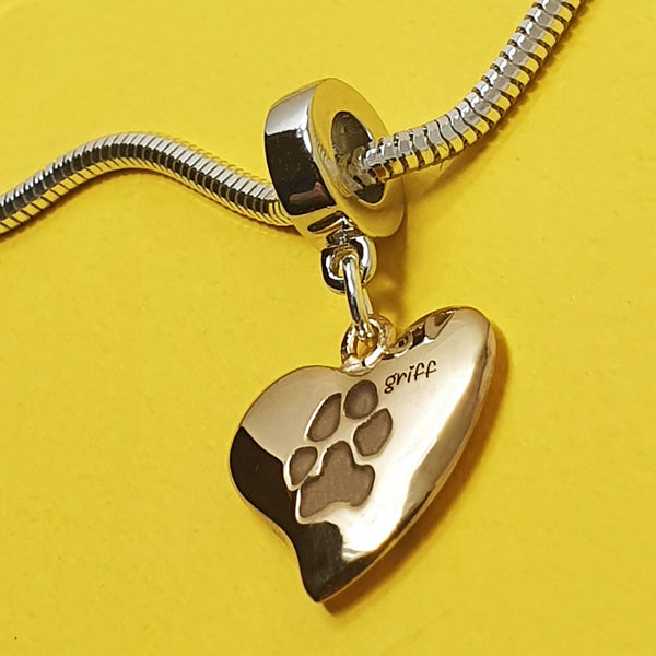Memento 9ct yellow gold plated personalised pawprint signature heart charm jewellery