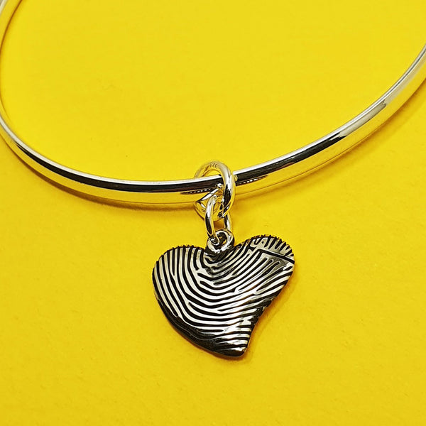 Memento silver personalised fingerprint signature heart charm jewellery
