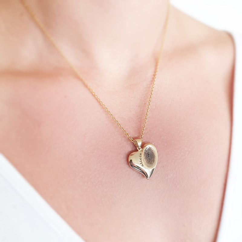 Memento 9ct yellow gold plated personalised signature fingerprint heart necklace jewellery