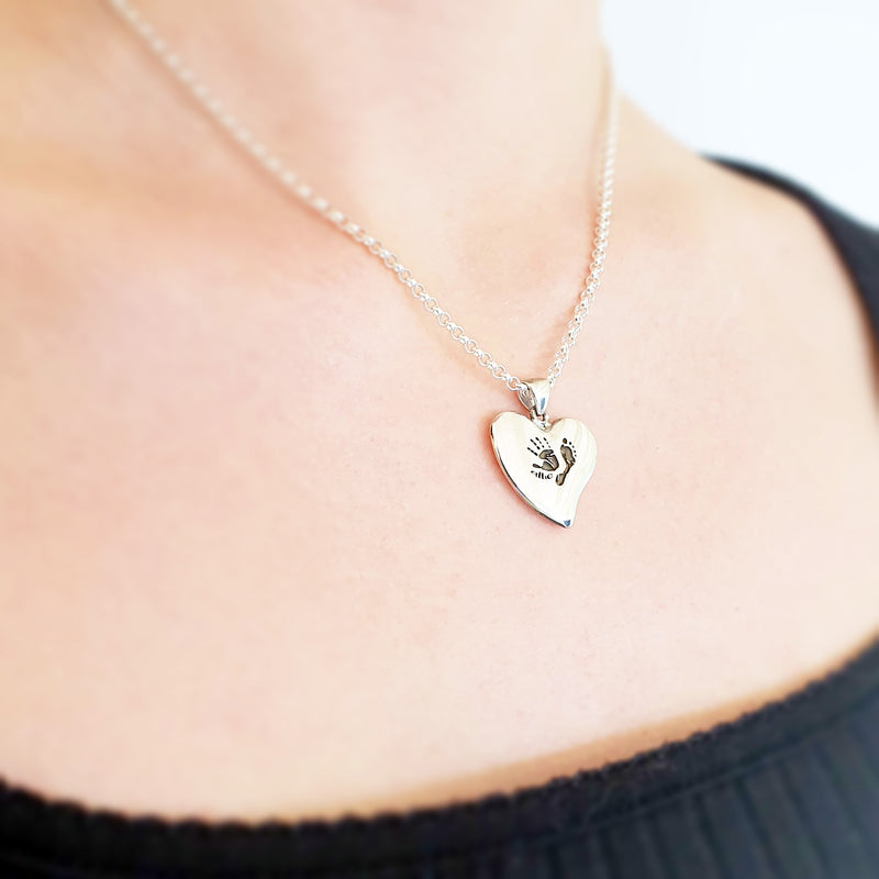 Memento Signature Silver Heart Handprint & Footprint Personalised Necklace Jewellery.
