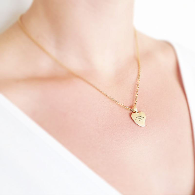 Memento 9ct yellow gold plated personalised special message heart necklace jewellery