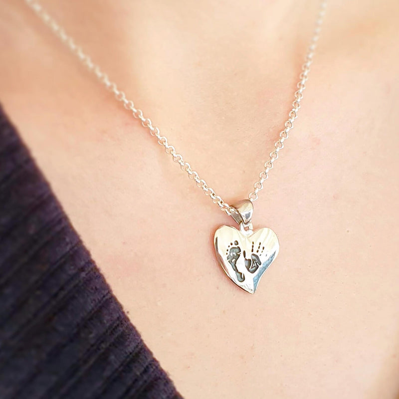 Memento silver personalised handprint & footprint small signature heart necklace jewellery