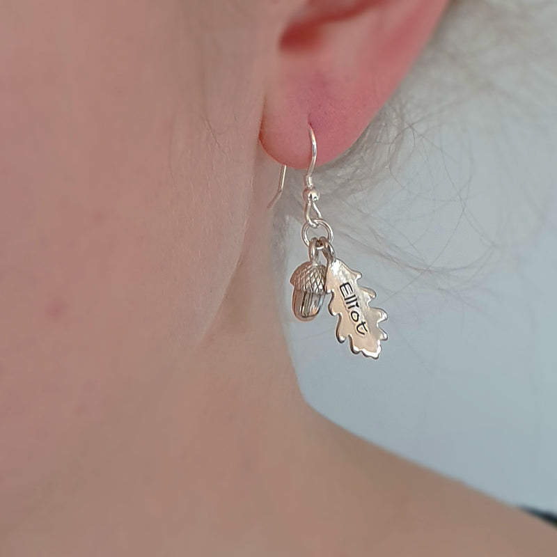 Memento silver personalised special message oak leaf & acorn earrings