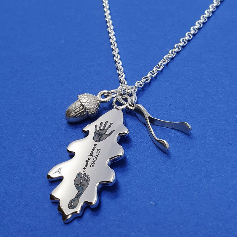 Memento silver personalised handprint & footprint signature oak leaf, baby wishbone & acorn necklace jewellery