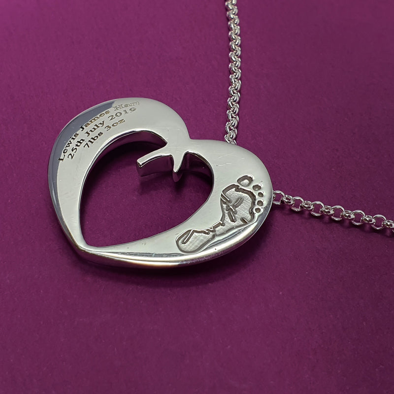 Memento silver personalised handprint & footprint signature open heart necklace jewellery