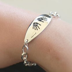 Memento silver personalised handprint & footprint signature petal bracelet jewellery