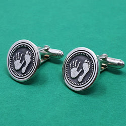 Memento silver personalised handprint & footprint bullet template signature round hinged cufflinks jewellery