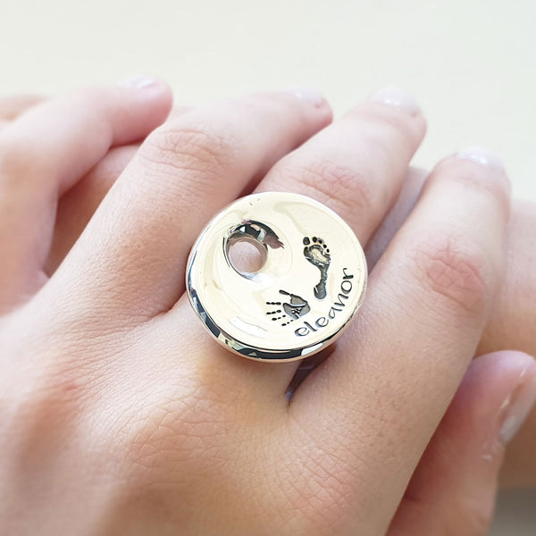 Memento silver personalised handprint & footprint signature saucer ring jewellery