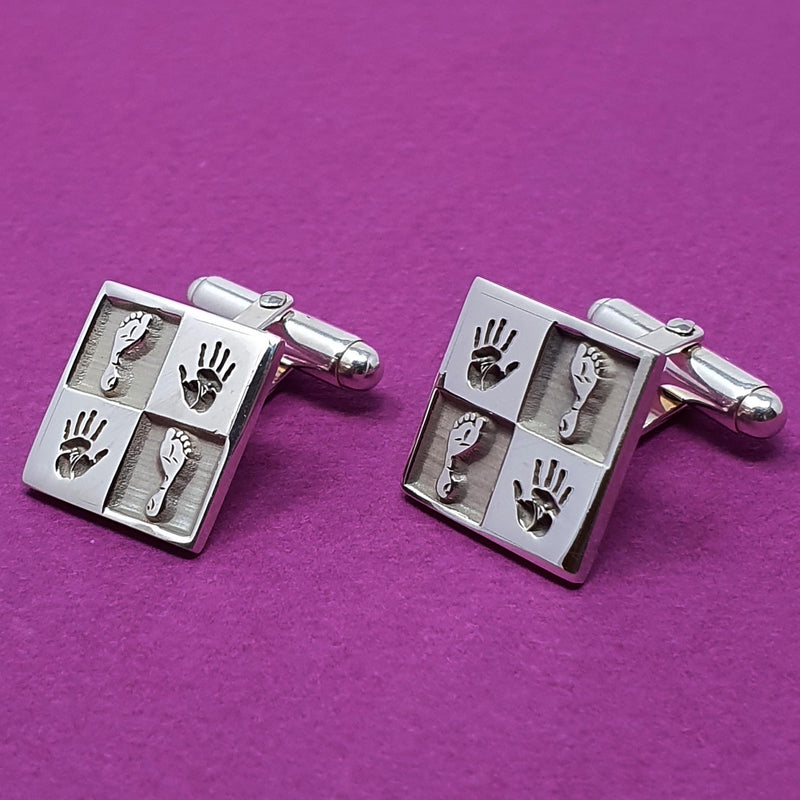 Memento silver personalised quartered design signature square hinged cufflinks jewellery
