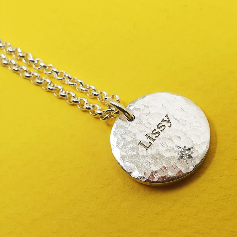 Memento silver & diamond personalised names & initials signature chunky button necklace jewellery