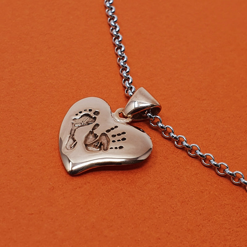 Memento silver & 9ct rose gold plated personalised handprint & footprint small signature heart necklace jewellery