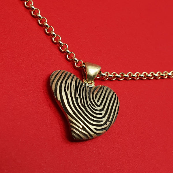 Memento 9ct yellow gold plated personalised fingerprint signature small heart necklace jewellery