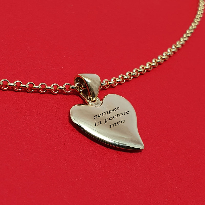 Memento 9ct yellow gold plated personalised special message small signature heart necklace jewellery