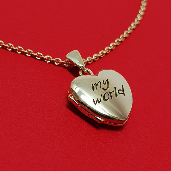 Memento 9ct yellow gold personalised small heart photo locket necklace jewellery