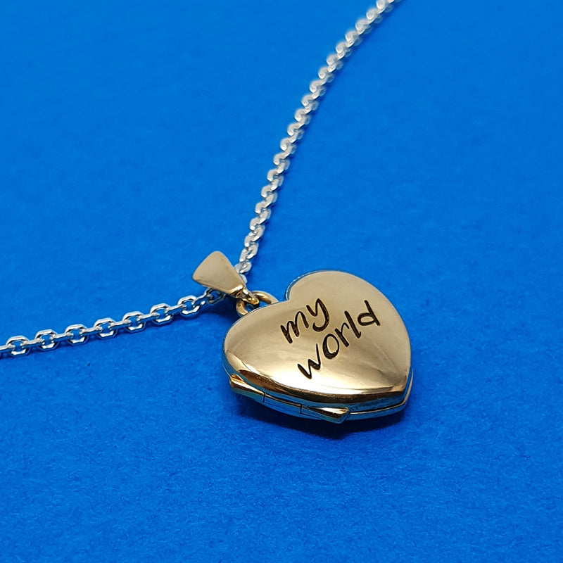 Memento silver 9ct gold plated personalised small heart photo locket necklace jewellery