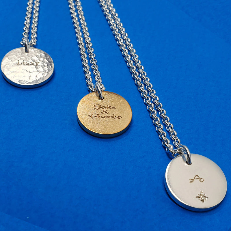 Memento silver & 9ct gold plated personalised names & initials signature chunky button necklace jewellery