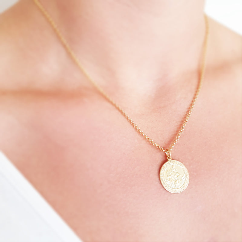 Memento 9ct yellow gold personalised handprint & footprint st christopher necklace jewellery