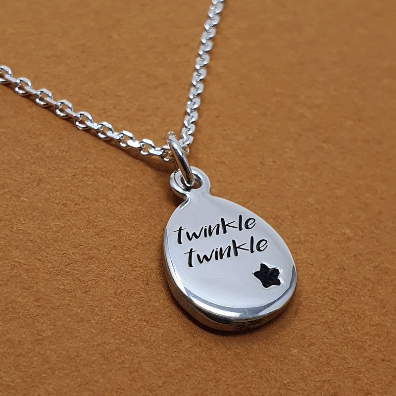 Memento silver special message signature pebble necklace jewellery