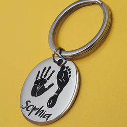 Memento Steel Personalised Handprint & Footprint Circle Keyring
