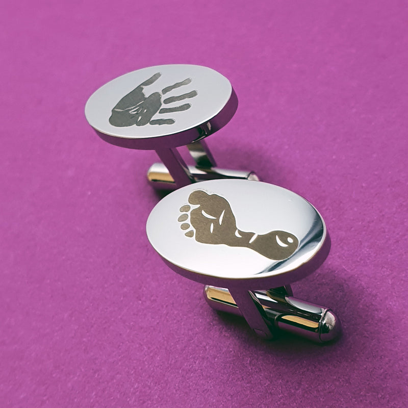 Memento stainless steel personalised handprint & footprint cufflinks jewellery