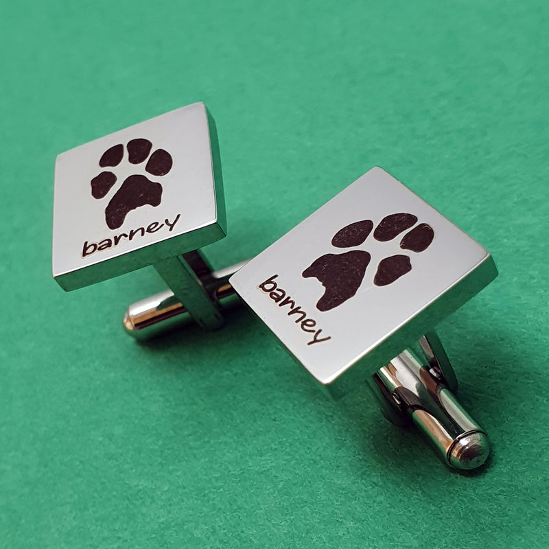Memento stainless steel personalised pawprint square cufflinks jewellery