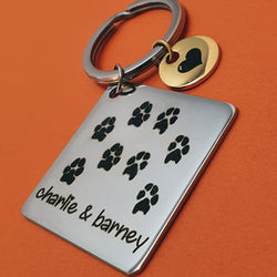 Memento stainless steel personalised pawprint circle & square keyring jewellery