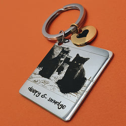 Memento stainless steel personalised photo image circle & square keyring jewellery