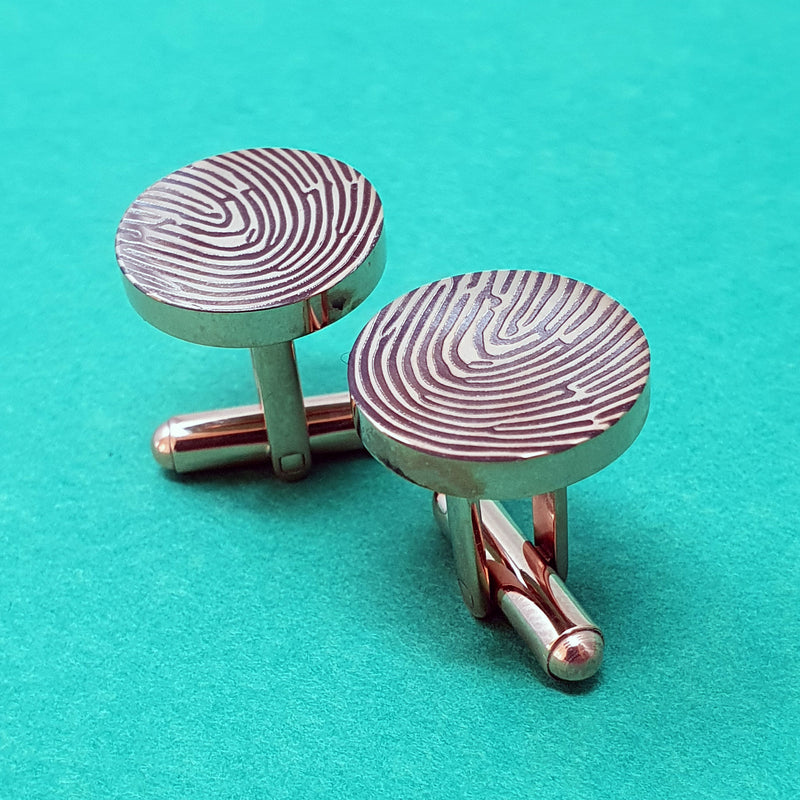 Memento rose gold plated stainless steel personalised fingerprint cufflinks jewellery