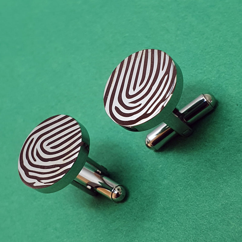 Memento stainless steel personalised magnified fingerprint cufflinks jewellery