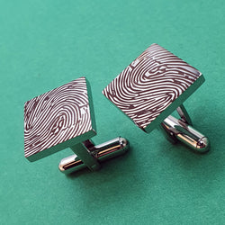 Memento stainless steel personalised fingerprint square cufflinks jewellery