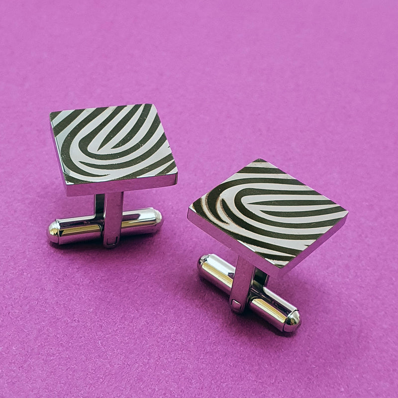 Memento stainless steel personalised magnified fingerprint square cufflinks jewellery
