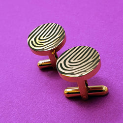 Memento yellow gold plated steel personalised magnified fingerprint cufflinks jewellery