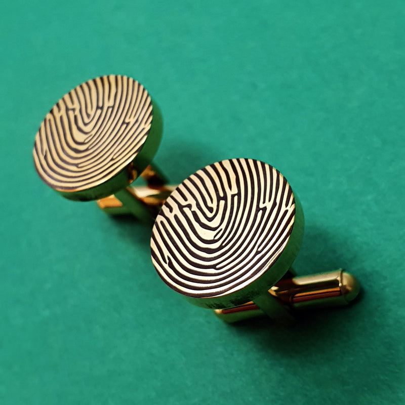 Memento yellow gold plated stainless steel personalised fingerprint cufflinks jewellery