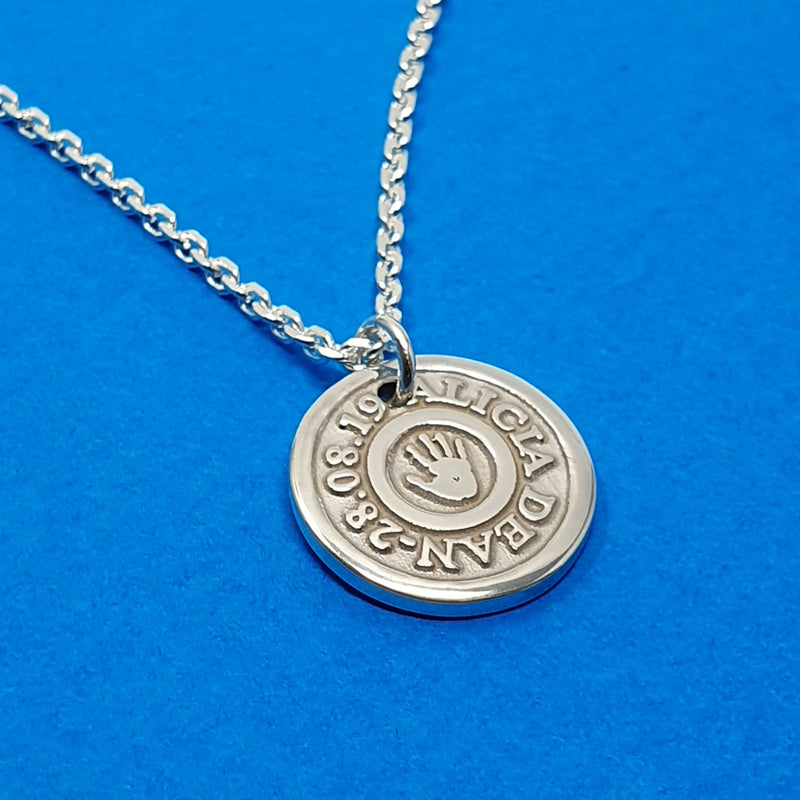 Memento signature chunky button silver personalised handprint target template necklace jewellery