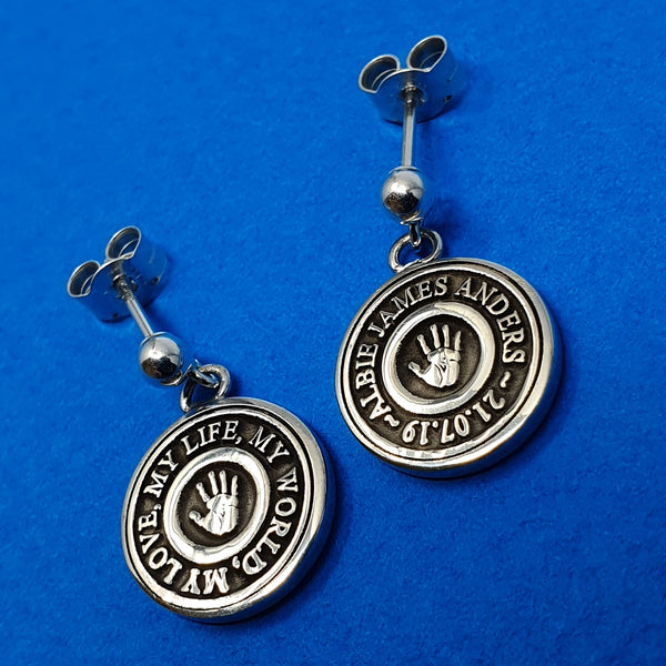 Memento signature button silver personalised handprint & footprint target template earring jewellery