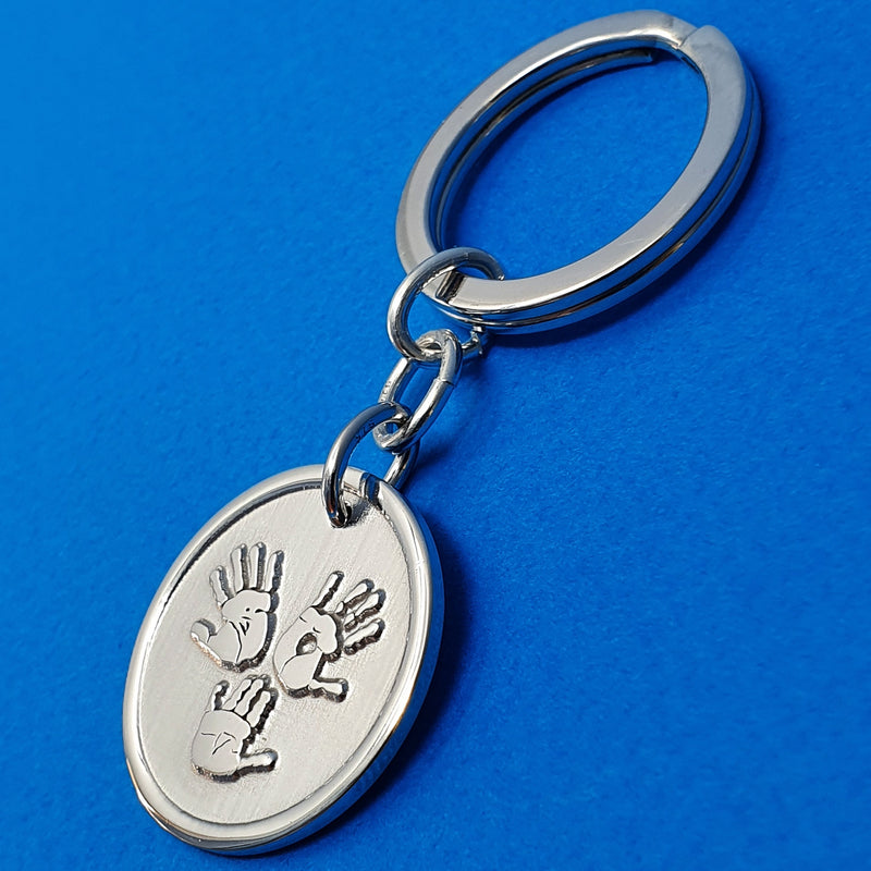 Memento signature button silver personalised three hands template keyring jewellery