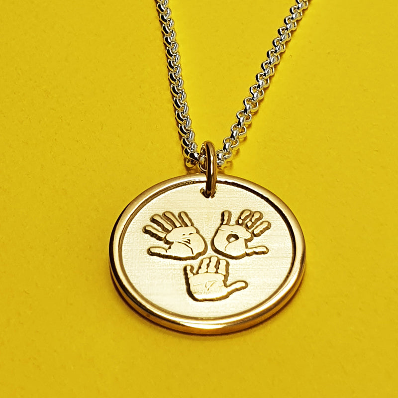 Memento signature button 9ct yellow gold plated personalised three hands template necklace jewellery