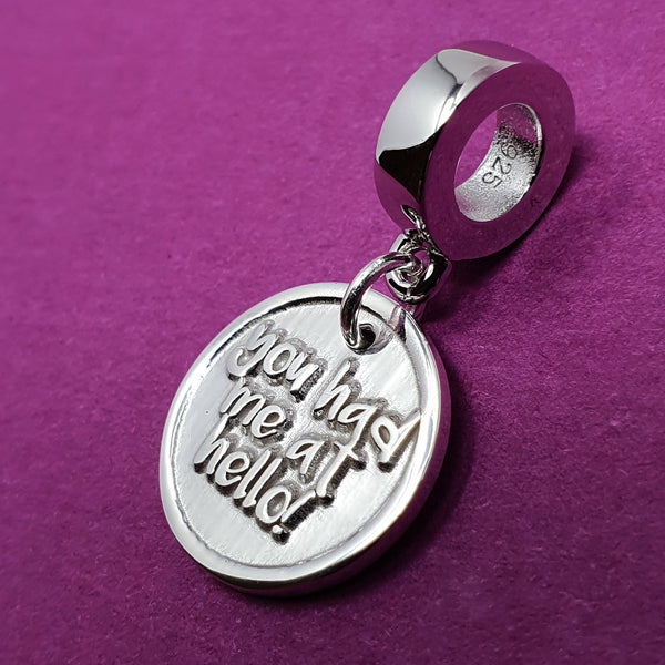 Memento silver personalised special message signature chunky button charm jewellery