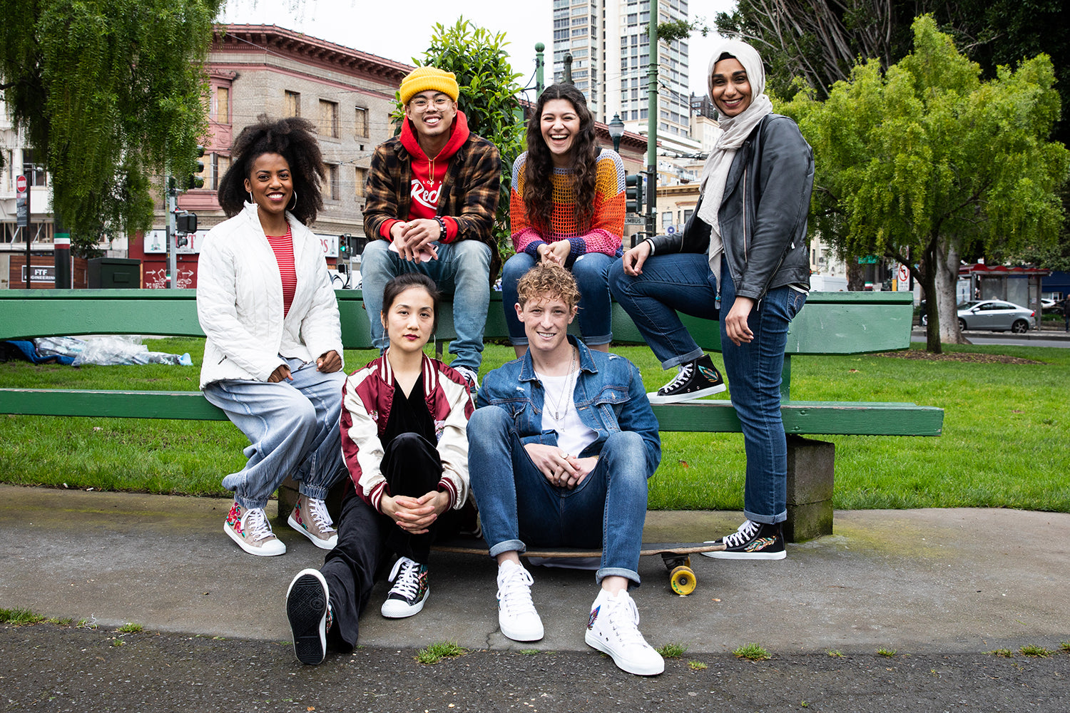 diverse group wearing sustainable sneakers