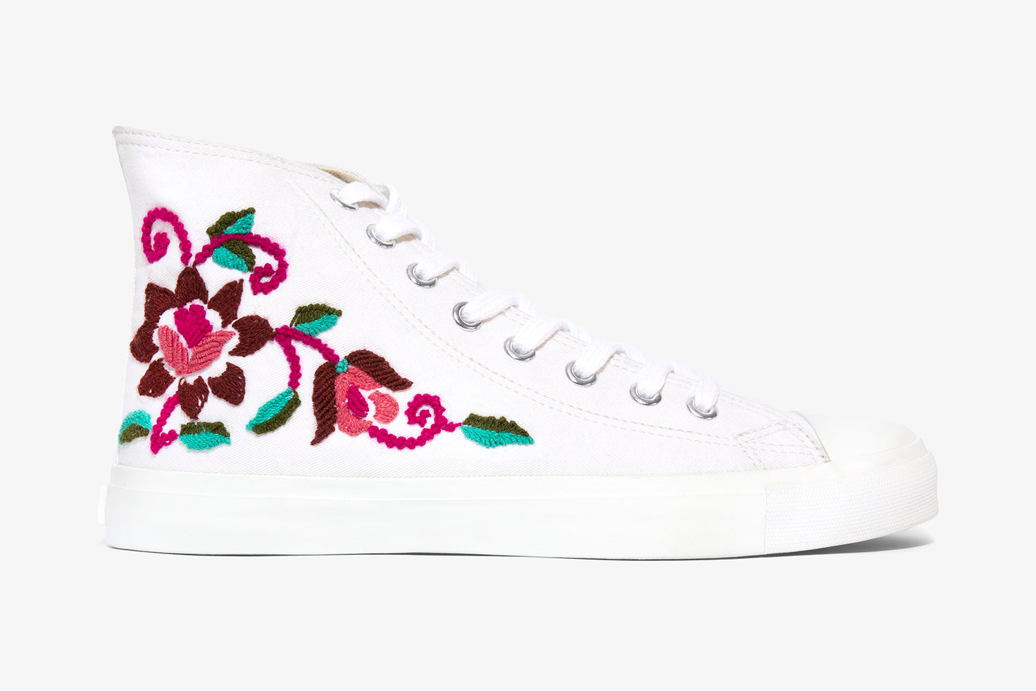 White Floral High Top
